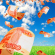������, ������: Russian money rubles in the sky flying