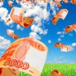 Постер, плакат: Russian money rubles in the sky flying