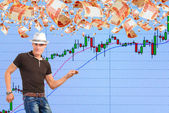 Playing on the rise in the stock market. — Stock Photo