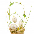 Wicker basket with decorative easter egg — Stock Photo #1267854