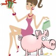 Girl on the piggy bank - Stock Vector