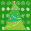 Stock Vector: Christmas tree in green