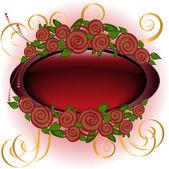 Marco con rosas — Vector de stock