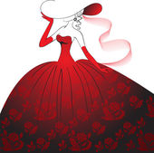 Lady in red evening dress — Stock Vector