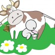 Three man share cow - Stock Vector