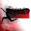 Silhouette of a girl running on the spray — Stock Vector