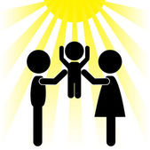 Silhouettes of family and the sun — Stock Vector