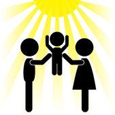 家族と太陽のシルエット — ストックベクタ