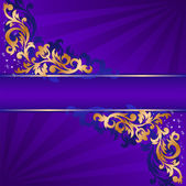 Blue banner with gold ornaments — Stock Vector