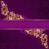 Banner roxo com ornamentos de ouro — Vetor de Stock