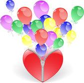 Hjärta med ballonger — Stockvektor