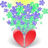 Coeur avec fleurs — Vecteur