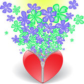 Heart with flowers — Stock Vector