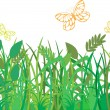 Royalty-Free Stock Vector Image: Green grass with butterflies
