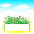 Card with grass and clouds — Stock Vector