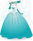 Bruid op de bloem achtergrond — Stockvector