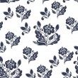 Stock Vector: Dark blue floral seamless pattern