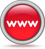 "Round red button ""WWW"" — Stockvector"