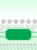 Green banner with the flowers — Stock Vector