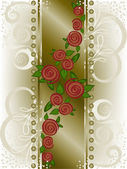 Rose on a broad vertical strip — Cтоковый вектор