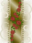 Rose sur une large bande verticale — Vecteur