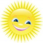 Funny cartoon sun smiling — Stock Vector