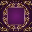 Gold frame on purple background — Stock Vector