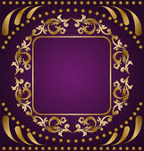 Gold ornament on a purple background — Stock Vector