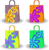 明るいショッピング バッグのセット — ストックベクタ