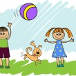 Children playing with a ball — Imagens vectoriais em stock