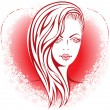 Girl in the heart — Stock Vector