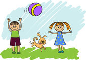 Children playing with a ball — Stock Vector