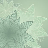 зеленый фон с цветами — Cтоковый вектор
