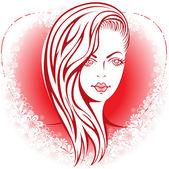 Girl in the heart — Stock Vector
