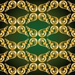 Gilded ornament on green — Stock Vector