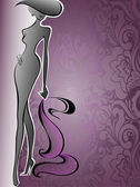 Woman on a purple flower background — Vector de stock