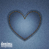 Denim heart — Stock Vector
