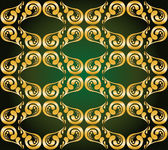 Gilded ornament on green — Vector de stock