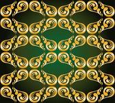 Yeşil altın yaldızlı süsleme — Stok Vektör