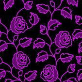 černé bezešvé pozadí s růží — Stock vektor