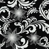 Fundo transparente preto com flores — Vetor de Stock