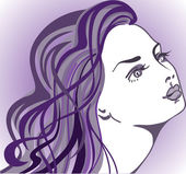 Girl on a purple background — Stock Vector