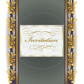 Invitation with golden ornament — Stock Vector