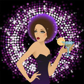 Girl in black on discotheque — Stock Vector