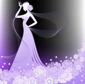 Girl with a veil — Stock Vector