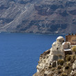 Church on rock verge in Santorini — Stock Photo