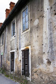 Bullets holes on building after war — Stock Photo