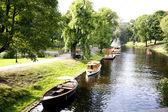 River channel in Riga central city park — Stock Photo