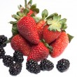 Fresh ripe strawberry with blackberry — Stock Photo