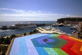 Colourful helipad in Monaco port — Stock Photo